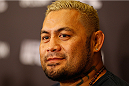 BRISBANE, AUSTRALIA - DECEMBER 05:  Mark Hunt during the UFC Ultimate Media Day at the Brisbane Marriott Hotel on December 5, 2013 in Brisbane, Australia. (Photo by Josh Hedges/Zuffa LLC/Zuffa LLC via Getty Images)