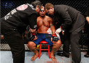 BRISBANE, AUSTRALIA - DECEMBER 07:  Mark Hunt is treated in his corner after his heavyweight fight against Antonio