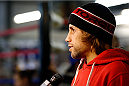 SACRAMENTO, CA - DECEMBER 11:  Urijah Faber interacts with media before an open training session at Ultimate Fitness on December 11, 2013 in Sacramento, California. (Photo by Josh Hedges/Zuffa LLC/Zuffa LLC via Getty Images)