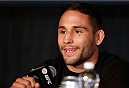 SACRAMENTO, CA - DECEMBER 12:  Chad Mendes interacts with media during the final pre-fight press conference before the UFC on FOX event at Sleep Train Arena on December 12, 2013 in Sacramento, California. (Photo by Josh Hedges/Zuffa LLC/Zuffa LLC via Getty Images)