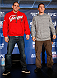 SACRAMENTO, CA - DECEMBER 12:  (R-L) Opponents Joe Lauzon and Mac Danzig pose for photos during the final pre-fight press conference before the UFC on FOX event at Sleep Train Arena on December 12, 2013 in Sacramento, California. (Photo by Josh Hedges/Zuffa LLC/Zuffa LLC via Getty Images)