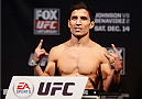 SACRAMENTO, CA - DECEMBER 13:  Joseph Benavidez weighs in during the UFC on FOX weigh-in at Sleep Train Arena on December 13, 2013 in Sacramento, California. (Photo by Josh Hedges/Zuffa LLC/Zuffa LLC via Getty Images)
