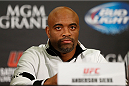 LAS VEGAS, NV - DECEMBER 26:  Anderson Silva interacts with media during the UFC 168 pre-fight press conference at the MGM Grand Hotel/Casino on December 26, 2013 in Las Vegas, Nevada. (Photo by Josh Hedges/Zuffa LLC/Zuffa LLC via Getty Images)