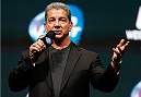 LAS VEGAS, NV - DECEMBER 27:  Bruce Buffer interacts with fans during a Q&A session before the UFC 168 weigh-in at the MGM Grand Garden Arena on December 27, 2013 in Las Vegas, Nevada. (Photo by Josh Hedges/Zuffa LLC/Zuffa LLC via Getty Images)