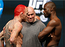 LAS VEGAS, NV - DECEMBER 27:  (L-R) Opponents Chris Leben and Urijah Hall face off during the UFC 168 weigh-in at the MGM Grand Garden Arena on December 27, 2013 in Las Vegas, Nevada. (Photo by Josh Hedges/Zuffa LLC/Zuffa LLC via Getty Images)