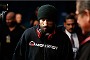 LAS VEGAS, NV - DECEMBER 28:  Estevan Payan walks to the Octagon to face Robbie Peralta in their featherweight bout during the UFC 168 event at the MGM Grand Garden Arena on December 28, 2013 in Las Vegas, Nevada. (Photo by Josh Hedges/Zuffa LLC/Zuffa LLC via Getty Images) *** Local Caption *** Estevan Payan