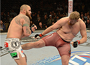 LAS VEGAS, NV - DECEMBER 28:  (R-L) Josh Barnett kicks Travis Browne in their heavyweight bout during the UFC 168 event at the MGM Grand Garden Arena on December 28, 2013 in Las Vegas, Nevada. (Photo by Donald Miralle/Zuffa LLC/Zuffa LLC via Getty Images) *** Local Caption *** Josh Barnett; Travis Browne