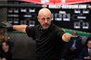 LACHUTE, CANADA - NOVEMBER 2:  Referee Yves Lavigne introduces Team Australia fighter Brendan O'Reilly takes on Team Canada fighter Kajan Johnson before their welterweight bout during filming of The Ultimate Fighter Nations television series on November 2, 2013 in Lachute, Quebec, Canada. (Photo by Richard Wolowicz/Zuffa LLC/Zuffa LLC via Getty Images) *** Local Caption *** Yves Lavigne