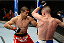 DULUTH, GA - JANUARY 15: (L-R) Vinc Pichel fights Garett Whiteley in their lightweight fight during the UFC Fight Night event inside The Arena at Gwinnett Center on January 15, 2014 in Duluth, Georgia. (Photo by Jeff Bottari/Zuffa LLC/Zuffa LLC via Getty Images)