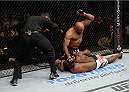 DULUTH, GA - JANUARY 15: Yoel Romero (Top) throws elbows to the body of Derek Brunson in their middleweight fight during the UFC Fight Night event inside The Arena at Gwinnett Center on January 15, 2014 in Duluth, Georgia. (Photo by Jeff Bottari/Zuffa LLC/Zuffa LLC via Getty Images)