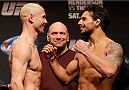 "CHICAGO, IL - JANUARY 24:  (L-R) Opponents Donald ""Cowboy"" Cerrone and Adriano Martins face off during the UFC weigh-in event at the Chicago Theatre on January 24, 2014 in Chicago, Illinois. (Photo by Josh Hedges/Zuffa LLC/Zuffa LLC via Getty Images)"