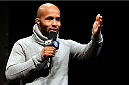 "CHICAGO, IL - JANUARY 24:  UFC flyweight champion Demetrious ""Mighty Mouse"" Johnson interacts with fans during a Q&A session before the UFC weigh-in event at the Chicago Theatre on January 24, 2014 in Chicago, Illinois. (Photo by Josh Hedges/Zuffa LLC/Zuffa LLC via Getty Images)"
