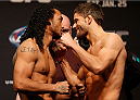 CHICAGO, IL - JANUARY 24:  (L-R) Opponents Benson Henderson and Josh Thomson face off during the UFC weigh-in event at the Chicago Theatre on January 24, 2014 in Chicago, Illinois. (Photo by Josh Hedges/Zuffa LLC/Zuffa LLC via Getty Images)