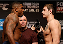 CHICAGO, IL - JANUARY 24:  (L-R) Opponents Walt Harris and Nikita Krylov face off during the UFC weigh-in event at the Chicago Theatre on January 24, 2014 in Chicago, Illinois. (Photo by Josh Hedges/Zuffa LLC/Zuffa LLC via Getty Images)
