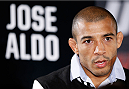 NEW YORK, NY - JANUARY 30:  UFC featherweight champion Jose Aldo interacts with media during the UFC 169 Ultimate Media Day at The Theater at Madison Square Garden on January 30, 2014 in New York City. (Photo by Josh Hedges/Zuffa LLC/Zuffa LLC via Getty Images)