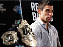 NEW YORK, NY - JANUARY 30:  UFC bantamweight champion Renan Barao interacts with media during the UFC 169 Ultimate Media Day at The Theater at Madison Square Garden on January 30, 2014 in New York City. (Photo by Josh Hedges/Zuffa LLC/Zuffa LLC via Getty Images)