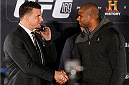 NEW YORK, NY - JANUARY 30:  (L-R) Opponents Frank Mir and Alistair Overeem shake hands during the UFC 169 Ultimate Media Day at The Theater at Madison Square Garden on January 30, 2014 in New York City. (Photo by Josh Hedges/Zuffa LLC/Zuffa LLC via Getty Images)