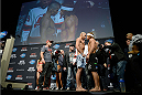 NEWARK, NJ - JANUARY 31:  (L-R) UFC Bantamweight Champion Renan Barao and Urijah Faber face off during the UFC 169 weigh-in event at the Prudential Center on January 31, 2014 in Newark, New Jersey. (Photo by Jeff Bottari/Zuffa LLC/Zuffa LLC via Getty Images)