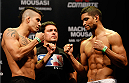 JARAGUA DO SUL, BRAZIL - FEBRUARY 14:  (L-R) Opponents Felipe Arantes and Maximo Blanco face off during the UFC weigh-in at Arena Jaragua on February 14, 2014 in Jaragua do Sul, Santa Catarina, Brazil. (Photo by Josh Hedges/Zuffa LLC/Zuffa LLC via Getty Images)