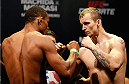 JARAGUA DO SUL, BRAZIL - FEBRUARY 14:  (L-R) Opponents Francisco Trinaldo and Jesse Ronson face off during the UFC weigh-in at Arena Jaragua on February 14, 2014 in Jaragua do Sul, Santa Catarina, Brazil. (Photo by Josh Hedges/Zuffa LLC/Zuffa LLC via Getty Images)
