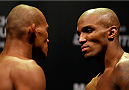 "JARAGUA DO SUL, BRAZIL - FEBRUARY 14:  (L-R) Opponents Ronaldo ""Jacare"" Souza and Francis Carmont face off during the UFC weigh-in at Arena Jaragua on February 14, 2014 in Jaragua do Sul, Santa Catarina, Brazil. (Photo by Josh Hedges/Zuffa LLC/Zuffa LLC via Getty Images)"