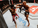 JARAGUA DO SUL, BRAZIL - FEBRUARY 15:  (R-L) Nicholas Musoke punches Viscardi Andrade in their welterweight fight during the UFC Fight Night event at Arena Jaragua on February 15, 2014 in Jaragua do Sul, Santa Catarina, Brazil. (Photo by Josh Hedges/Zuffa LLC/Zuffa LLC via Getty Images)