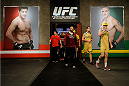 LACHUTE, CANADA - NOVEMBER 17:  Team Australia and Team Canada enter the arena during filming of The Ultimate Fighter Nations television series on November 17, 2013 in Lachute, Quebec, Canada. (Photo by Richard Wolowicz/Zuffa LLC/Zuffa LLC via Getty Images) *** Local Caption ***