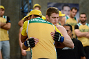 LACHUTE, CANADA - NOVEMBER 17:  Team Australia fighter Daniel Kelly prepares to enter the Octagon before taking on Team Canada fighter Sheldon Westcott in their middleweight fight during filming of The Ultimate Fighter Nations television series on November 17, 2013 in Lachute, Quebec, Canada. (Photo by Richard Wolowicz/Zuffa LLC/Zuffa LLC via Getty Images) *** Local Caption *** Daniel Kelly