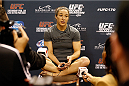 LAS VEGAS, NV - FEBRUARY 19:  Sara McMann interacts with media after an open training session for fans and media at the Mandalay Bay Events Center on February 19, 2014 in Las Vegas, Nevada. (Photo by Josh Hedges/Zuffa LLC/Zuffa LLC via Getty Images)