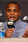 LAS VEGAS, NV - FEBRUARY 20:  Daniel Cormier interacts with media during the final UFC 170 pre-fight press conference at the Mandalay Bay Resort and Casino on February 20, 2014 in Las Vegas, Nevada. (Photo by Josh Hedges/Zuffa LLC/Zuffa LLC via Getty Images)