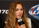 LAS VEGAS, NV - FEBRUARY 20:  Ronda Rousey interacts with media during the final UFC 170 pre-fight press conference at the Mandalay Bay Resort and Casino on February 20, 2014 in Las Vegas, Nevada. (Photo by Josh Hedges/Zuffa LLC/Zuffa LLC via Getty Images)
