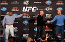 LAS VEGAS, NV - FEBRUARY 20:  Opponents Daniel Cormier (L) and Patrick Cummins (R) are separated by UFC President Dana White after a heated exchange during the final UFC 170 pre-fight press conference at the Mandalay Bay Resort and Casino on February 20, 2014 in Las Vegas, Nevada. (Photo by Josh Hedges/Zuffa LLC/Zuffa LLC via Getty Images)