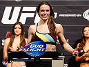 LAS VEGAS, NV - FEBRUARY 21:  Alexis Davis weighs in during the UFC 170 weigh-in event at the Mandalay Bay Events Center on February 21, 2014 in Las Vegas, Nevada. (Photo by Josh Hedges/Zuffa LLC/Zuffa LLC via Getty Images)