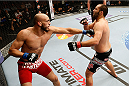 LAS VEGAS, NV - FEBRUARY 22:  (L-R) Yosdenis Cedeno punches Ernest Chavez in their lightweight bout during UFC 170 inside the Mandalay Bay Events Center on February 22, 2014 in Las Vegas, Nevada. (Photo by Josh Hedges/Zuffa LLC/Zuffa LLC via Getty Images) *** Local Caption *** Ernest Chavez; Yosdenis Cedeno