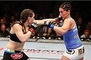 LAS VEGAS, NV - FEBRUARY 22:  (L-R) Alexis Davis punches Jessica Eye in their women's bantamweight bout during UFC 170 inside the Mandalay Bay Events Center on February 22, 2014 in Las Vegas, Nevada. (Photo by Josh Hedges/Zuffa LLC/Zuffa LLC via Getty Images) *** Local Caption *** Alexis Davis; Jessica Eye