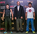 MACAU - FEBRUARY 27:  (L-R) Jumabieke Tuerxun of and Mark Eddiva pose for media at Venetian Macau on February 27, 2014 in Macau, Macau.  (Photo by Xaume Olleros/Zuffa LLC)