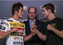 MACAU - FEBRUARY 27:  (L-R) Dong Hyum Kim and John Hathaway face off for media at Venetian Macau on February 27, 2014 in Macau, Macau. (Photo by Xaume Olleros/Zuffa LLC)