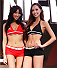 MACAU - FEBRUARY 28:  (L and R) UFC Octagon girls Azusa Nishigaki and Jessica Cambensy pose during the UFC weigh-in event at the Venetian Macau on February 28, 2014 in Macau. (Photo by Mitch Viquez/Zuffa LLC/Zuffa LLC via Getty Images)