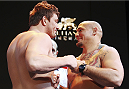 MACAU - FEBRUARY 28:  (L and R) Matt Mitrione and Shawn Jordan face off during the UFC weigh-in event at the Venetian Macau on February 28, 2014 in Macau. (Photo by Mitch Viquez/Zuffa LLC/Zuffa LLC via Getty Images)