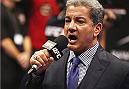 MACAU - MARCH 01:  Bruce Buffer announces the fighters before Jumabieke Tuerxun and Mark Eddiva's bout bout during the UFC Fight Night event at the Venetian Macau on March 1, 2014 in Macau. (Photo by Mitch Viquez/Zuffa LLC/Zuffa LLC via Getty Images)