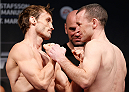 LONDON, ENGLAND - MARCH 07:  (L-R) Opponents Brad Pickett and Neil Seery face off during the UFC weigh-in event at the O2 Arena on March 7, 2014 in London, England. (Photo by Josh Hedges/Zuffa LLC/Zuffa LLC via Getty Images)