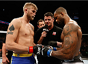 LONDON, ENGLAND - MARCH 08:  (L-R) Opponents Alexander Gustafsson and Jimi Manuwa face off before their light heavyweight fight during the UFC Fight Night London event at the O2 Arena on March 8, 2014 in London, England. (Photo by Josh Hedges/Zuffa LLC/Zuffa LLC via Getty Images)