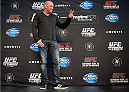 DALLAS, TX - MARCH 13:  UFC President Dana White addresses the media during the UFC 171 Ultimate Media Day at American Airlines Center on March 13, 2014 in Dallas, Texas. (Photo by Jeff Bottari/Zuffa LLC/Zuffa LLC via Getty Images)