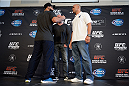 DALLAS, TX - MARCH 13:  (L-R) Johny Hendricks and Robbie Lawler square off for the media during the UFC 171 Ultimate Media Day at American Airlines Center on March 13, 2014 in Dallas, Texas. (Photo by Jeff Bottari/Zuffa LLC/Zuffa LLC via Getty Images)