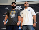 DALLAS, TX - MARCH 13:  (L-R) Johny Hendricks and Robbie Lawler pose for the media during the UFC 171 Ultimate Media Day at American Airlines Center on March 13, 2014 in Dallas, Texas. (Photo by Jeff Bottari/Zuffa LLC/Zuffa LLC via Getty Images)