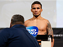 DALLAS, TX - MARCH 14:  Dennis Bermudez weighs in] during the UFC 171 official weigh-in at Gilley's Dallas on March 14, 2014 in Dallas, Texas. (Photo by Josh Hedges/Zuffa LLC/Zuffa LLC via Getty Images)