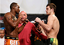 DALLAS, TX - MARCH 14:  (L-R) Opponents Ovince Saint Preux and Nikita Krylov face off during the UFC 171 official weigh-in at Gilley's Dallas on March 14, 2014 in Dallas, Texas. (Photo by Josh Hedges/Zuffa LLC/Zuffa LLC via Getty Images)