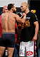 DALLAS, TX - MARCH 14:  (L-R) Opponents Johny Hendricks and Robbie Lawler face off during the UFC 171 official weigh-in at Gilley's Dallas on March 14, 2014 in Dallas, Texas. (Photo by Josh Hedges/Zuffa LLC/Zuffa LLC via Getty Images)