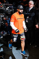 DALLAS, TX - MARCH 15:  Johny Hendricks walks into the arena before his UFC welterweight championship bout against Robbie Lawler at UFC 171 inside American Airlines Center on March 15, 2014 in Dallas, Texas. (Photo by Josh Hedges/Zuffa LLC/Zuffa LLC via Getty Images)