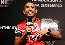 NATAL, BRAZIL - MARCH 22:  UFC featherweight champion Jose Aldo interacts with fans during a Q&A session before the UFC weigh-in at Ginasio Nelio Dias on March 22, 2014 in Natal, Brazil. (Photo by Josh Hedges/Zuffa LLC/Zuffa LLC via Getty Images)